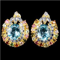 Natural SKY BLUE TOPAZ TANZANITE & TOURMALINE Earrings