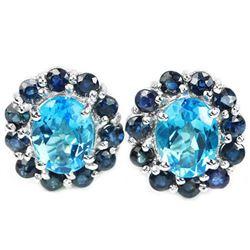 Natural SWISS BLUE TOPAZ & BLUE SAPPHIRE Earrings