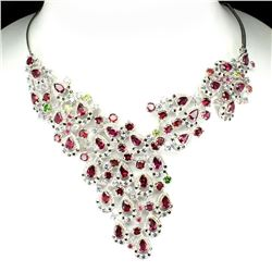 Natural Rhodolite, Tanzanite Ruby Sapphire Necklace
