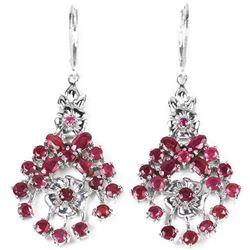 Natural PINK/RED RUBY Flower Earrings