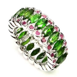 Natural Green Chrome Diopside & Ruby Ring