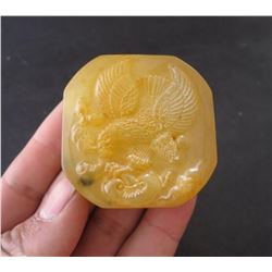 Antique Chinese Jade Hand Carved Eagle Seal