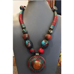Tibet Natural Stone & Amber Tribal Queen Royal Necklace