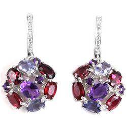Natural RUBY RHODOLITE AMETHYST TANZANITE Earrings