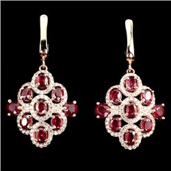 Natural Top Blood Red Ruby Earrings