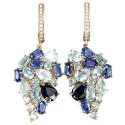Natural SKY BLUE TOPAZ SAPPHIRE KYANITE Earrings