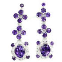 Ravishing Oval 10x8 Mm Intense Purple Amethyst Earrings