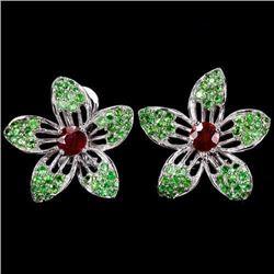 Natural BLOOD RED RUBY TSAVORITE GARNET Earrings