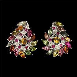 Natural Citrine Ruby & Tourmaline Earrings