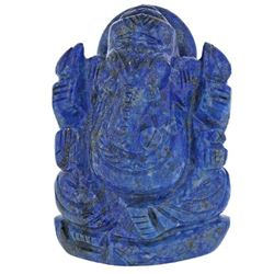NATURAL 687 CT HAND CARVED BLUE LAPIS GANESH.
