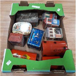 BOX LOT OF 10 TINS