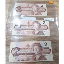 3 CANADIAN 1986 $2 BILLS