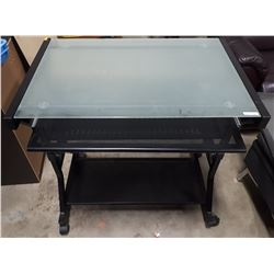 METAL AND GLASS COMPUTER DESK WITH SLIDING KEYBOARD HOLDER