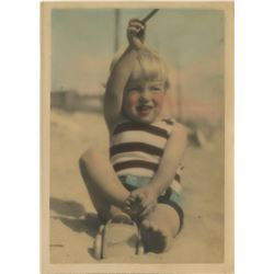 Marilyn Monroe hand-color tinted childhood photograph - Norma Jeane on the beach at 3 years old.