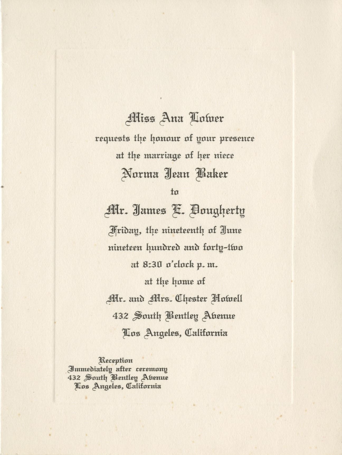 Marilyn Monroe Personal Invitation For Her Wedding To Jim Dougherty