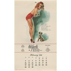 Earl Moran's Girls of 1950 pin-up calendar featuring 6-paintings of Marilyn Monroe.