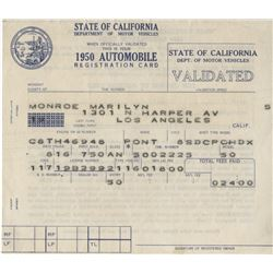 Marilyn Monroe personal California automobile registration card for her 1950 Pontiac Catalina.