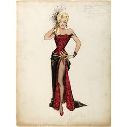 "Marilyn Monroe ""Kay Weston"" costume sketch by Travilla for River of No Return."
