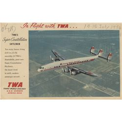 "Marilyn Monroe TWA postcard signed as ""Marilyn Monroe Miller."
