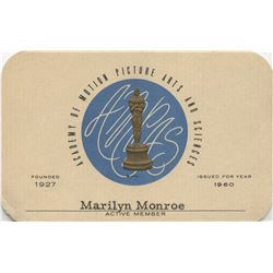 Marilyn Monroe personal 1960 and 1961 Academy of Motion Picture Arts & Sciences membership cards.