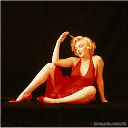 "Marilyn Monroe ""Red Sitting 1"" mammoth exhibition print by Milton H. Greene."