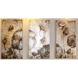 "LOT OF 3 ABSTRACT CANVAS PAINTINGS 31.5"" X 59"""