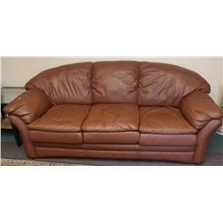 "FAUX BROWN LEATHER SOFA 90"" X 38"""