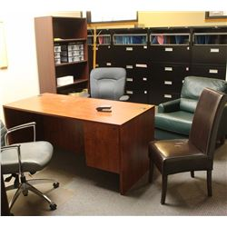 OFFICE DESK, BOOKSHELF, CABINET AND 4 CHAIRS
