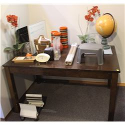 WOODEN DESK INCLUDES DECOR