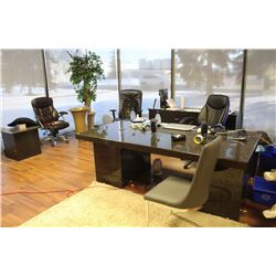 GRANITE OFFICE DESK, FILING CABINET AND END TABLE