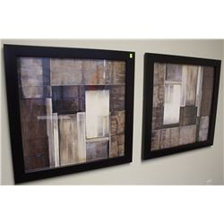 "PAIR OF ABSTRACT PRINTS 32"" X 32"""