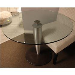 "40"" MODERN GLASS TOP ROUND KITCHEN TABLE"