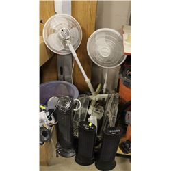 LOT OF 9 ASSORTED FANS AND HEATERS