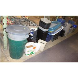 LARGE LOT OF ASSORTED GARBAGE CANS