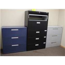 LOT OF 4 ASSORTED LATERAL FILING CABINETS