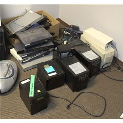 LOT OF ASSORTED BATTERY BACKUPS AND FIREWALLS