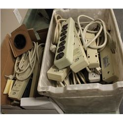 2 BOXES OF ASSORTED POWER BARS & SURGE PROTECTORS