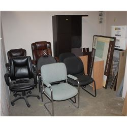 LOT OF 8 ASSORTED CHAIRS AND DESK PARTS