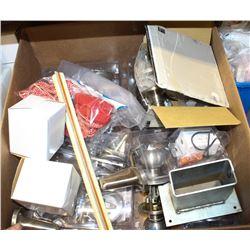 BOX OF ASSORTED DOOR HANDLES AND MORE