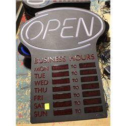 NEON OPEN SIGN WITH BUSINESS HOURS