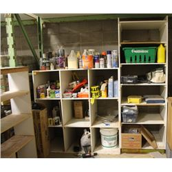 4 LARGE SHELVING UNITS WITH CONTENTS