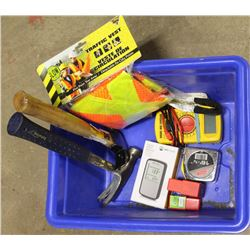 SMALL TOTE OF TOOLS INCLUDING MULTIMETER, RADON