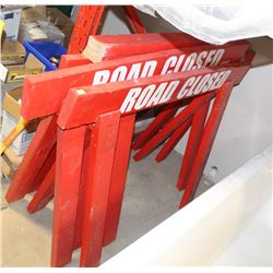LOT OF 4 ROAD BARRICADE SIGNS