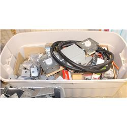 LARGE TOTE OF ASSORTED ELECTRICAL PRODUCTS