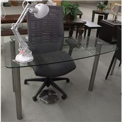 MODERN GLASS DESK WITH DESK LAMP AND OFFICE CHAIR