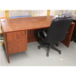 "CHERRY WOOD 66"" X 30"" OFFICE DESK WITH CHAIR"