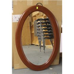 "LOT OF 2 BROWN WOOD STYLE OVAL MIRRORS 26"" X 39"""