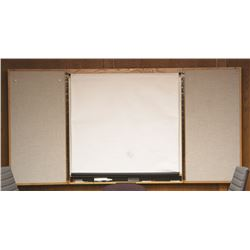 WHITEBOARD/PEG BOARD/PROJECTOR SCREEN WITH CABINET