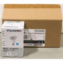 CASE OF 6 STANDARD CFL BR30 60 WATT BULBS