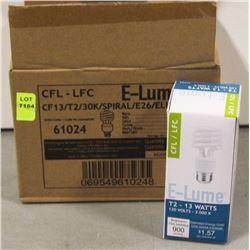 CASE OF 6 E-LUME CFL 13 WATT BULBS